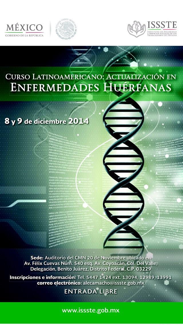 ISSSTE, Curso Latinoamericano de Actualización sobre Enfermedades Huérfanas, 8-9 dic