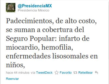 Twitt de la PresidenciaMX sobre las TRE de los lisosomales e el Seguro Popular