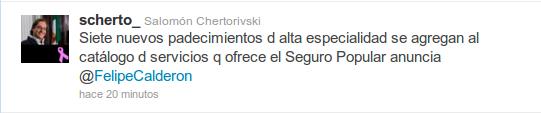 Twitt de Salomón Chertorivski sobre los TRE de los lisosomales en el Seguro Popular